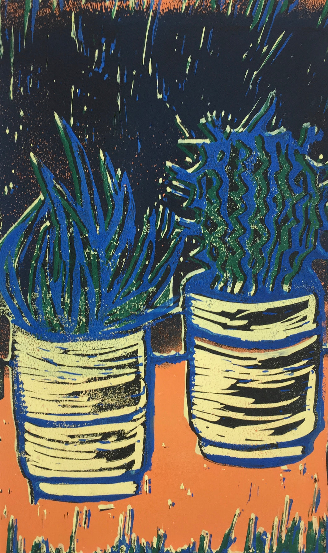 Cactus - potted plants II - blue & orange