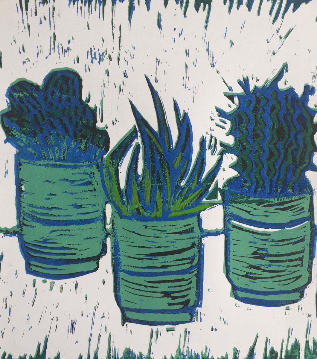 Cactus - potted plants III - green and blue