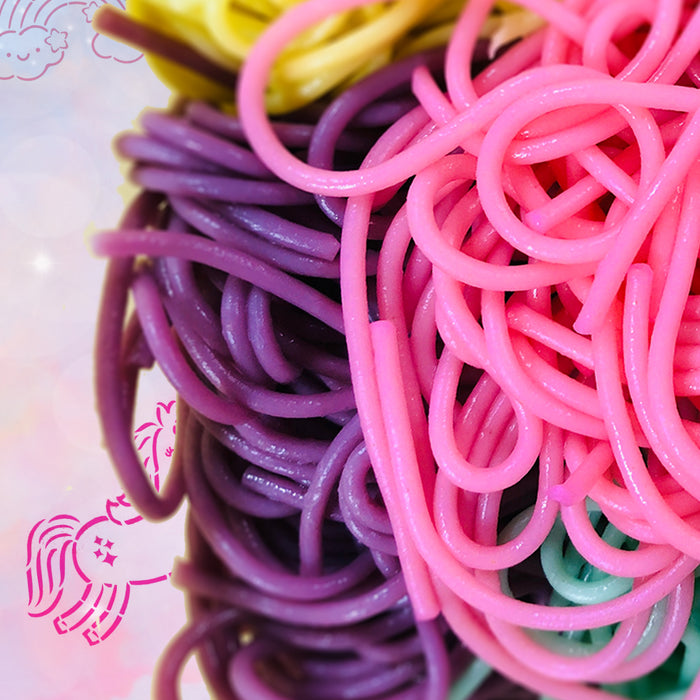 Unicorn Hair Rainbow Pasta Edible & Sensory Craft | Create with Katie