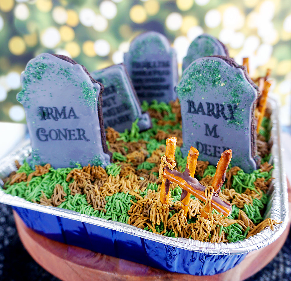 cute halloween graveyard cake finished