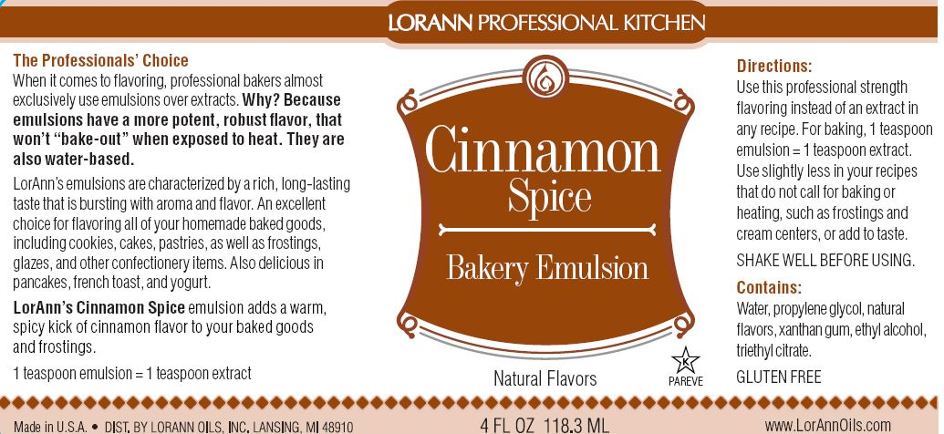 Cinnamon Spice Bakery Emulsion - 4 oz.