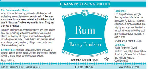 Rum Bakery Emulsion - 4 oz.