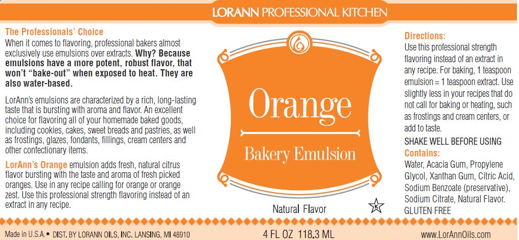 Orange (Natural) Bakery Emulsion - 4 oz