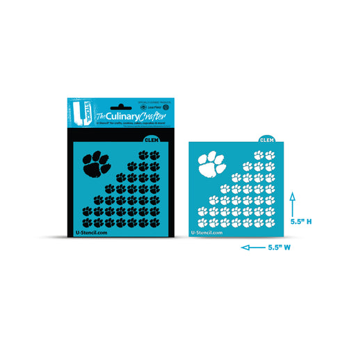 College Stencil - Clemson Tigers Paw Repeat