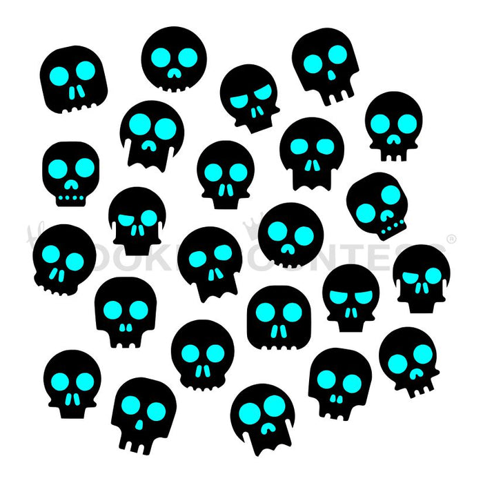 Cute Skeleton Heads 2 Piece Stencil