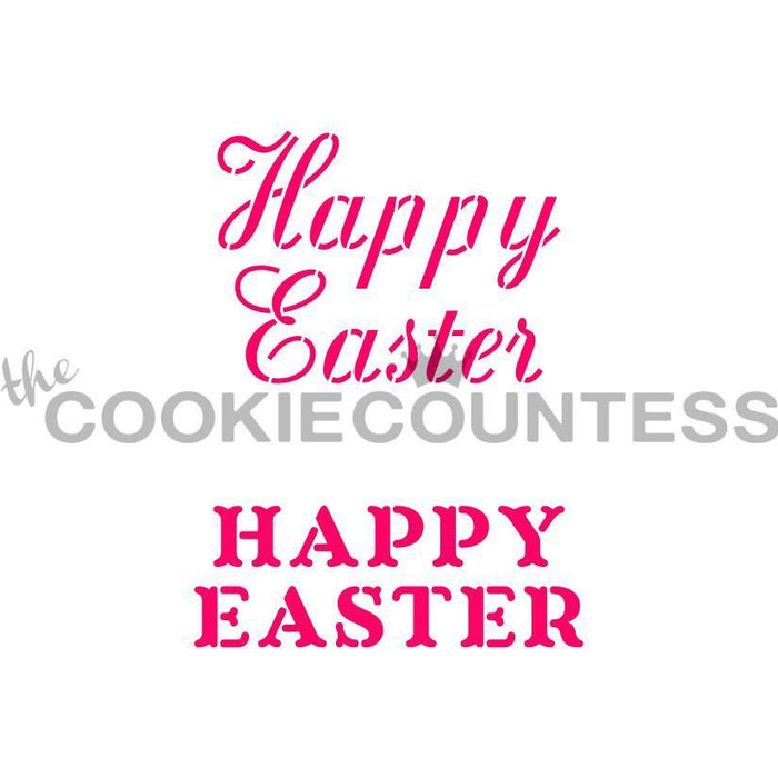 Happy Easter in 2 fonts Stencil