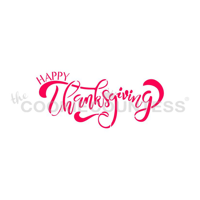 Happy Thanksgiving Script Stencil