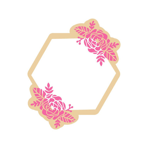 Jamestown Hexagon with Flowers - Cookie Cutter