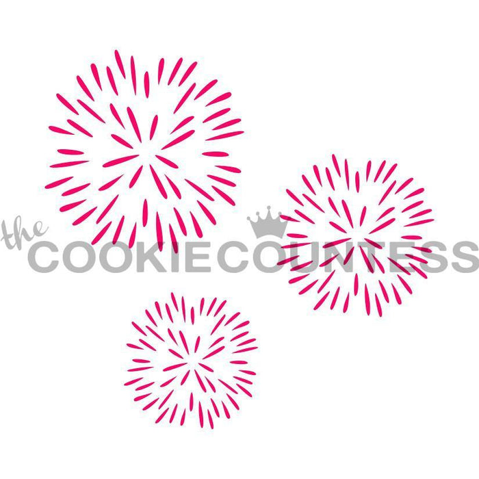 fireworks cookie design stencil