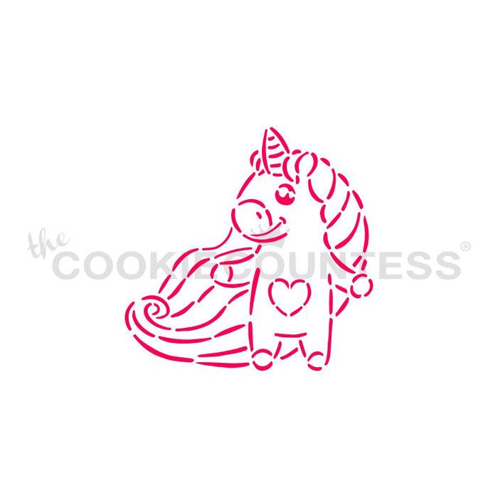 Unicorn with Heart PYO Stencil