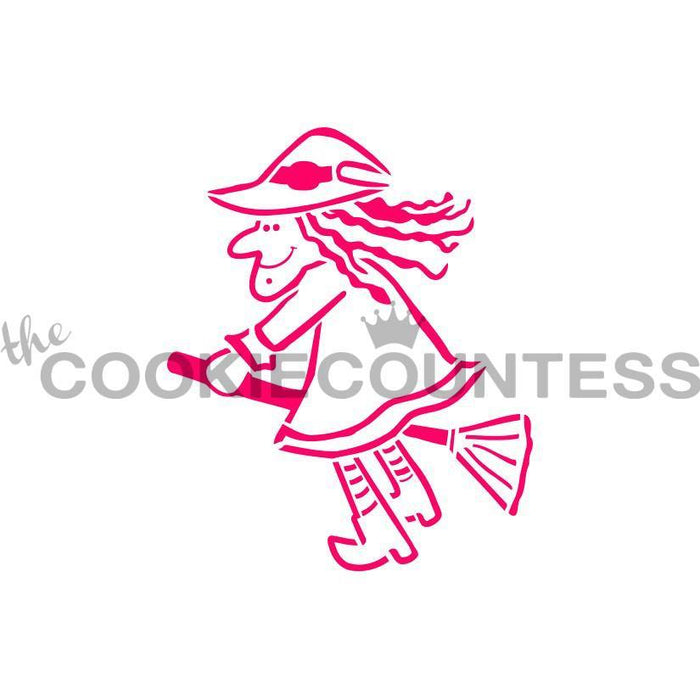 Scary  Witch on a Broom PYO Stencil