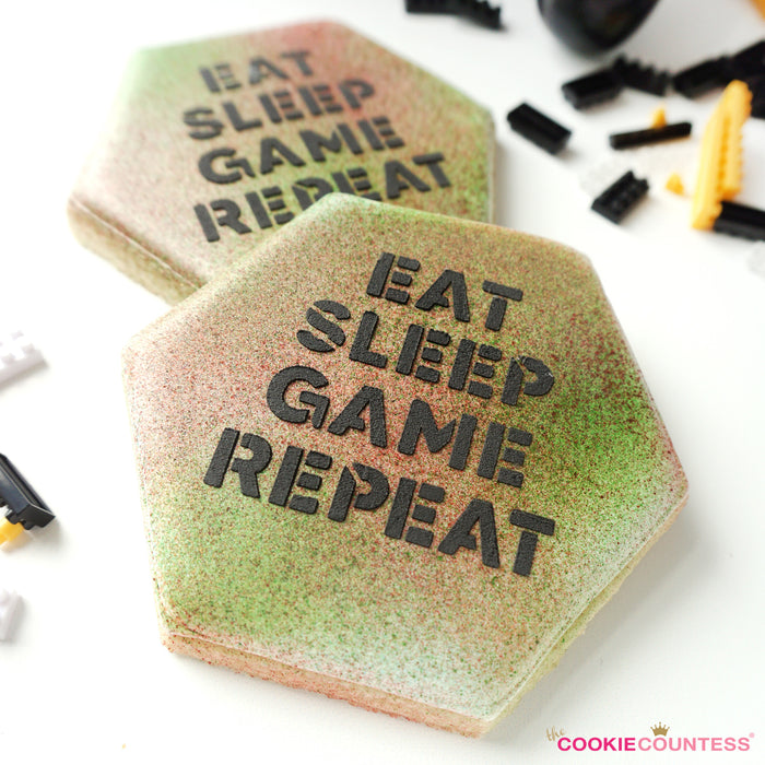 Eat Sleep Game Repeat Stencil