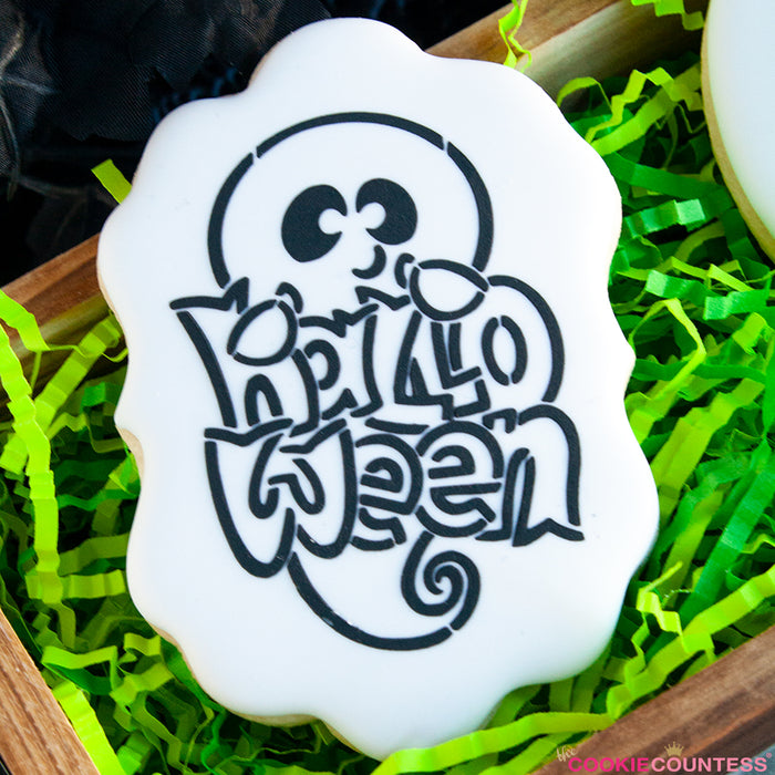 Ghost Holding Halloween Sign Stencil - Drawn by Krista