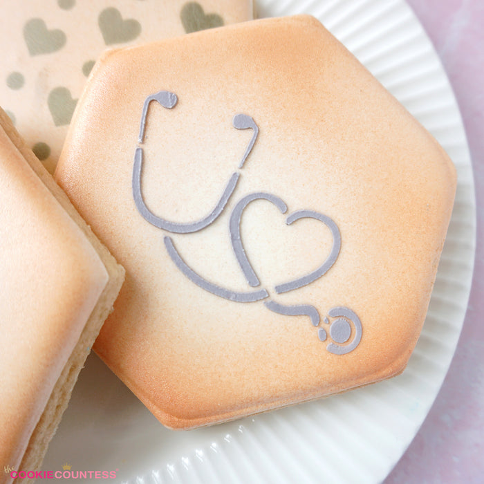 Stethoscope and Heart Stencil