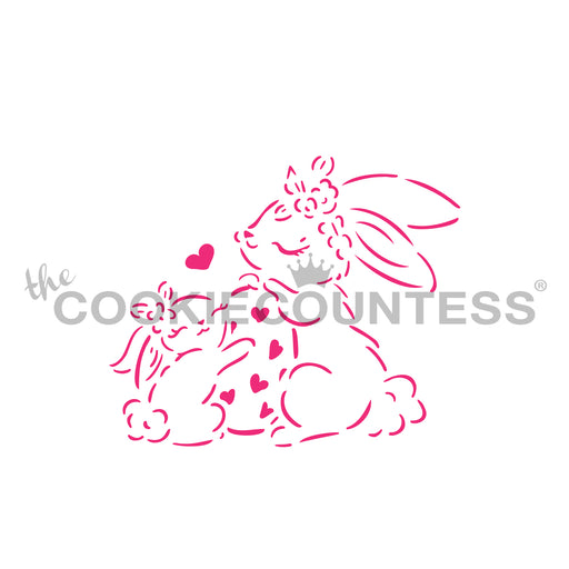 Mama and Baby Bunnies Stencil