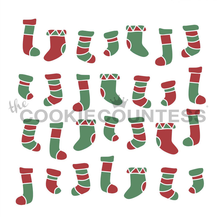 2 Piece Christmas Stockings Stencil