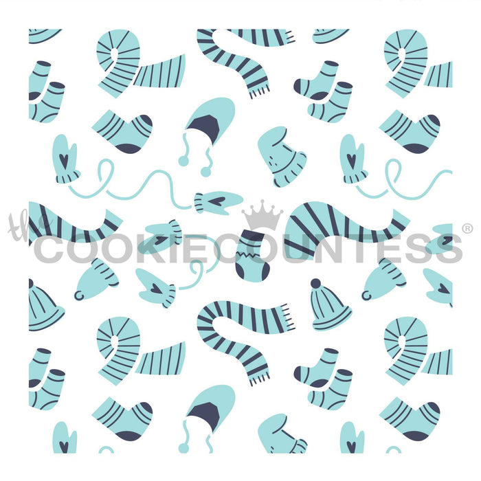 Mittens, Scarves and Hats 2 Piece Stencil set