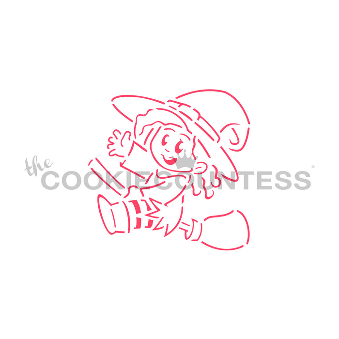 Cute Witch on a Broom PYO Stencil