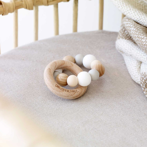 Silicone & Beech Wood Teether - Billie & Byron