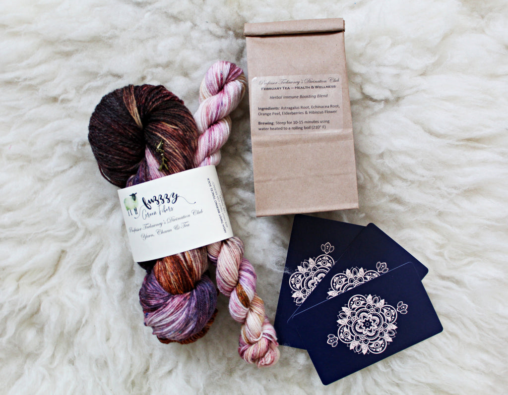 Ready to Ship - Merino Tencel Sock Set - Professor Trelawney's Divination Club: Yarn, Charm & Tea - February