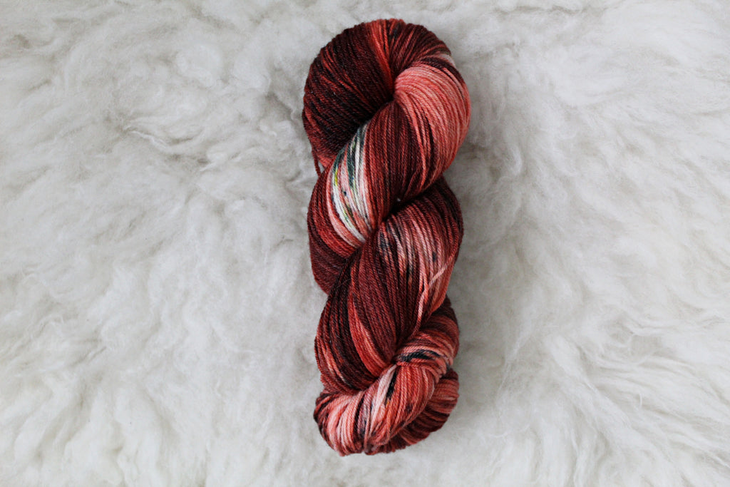Mrs. Claus Mistletoe - Merino Tencel Sock - Fingering Yarn - Non Superwash