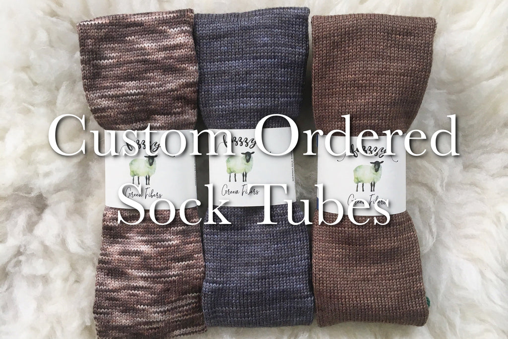 Add-On Circular Sock Machine Tube Cranking Service - Fuzzzy Green Fibers Yarn
