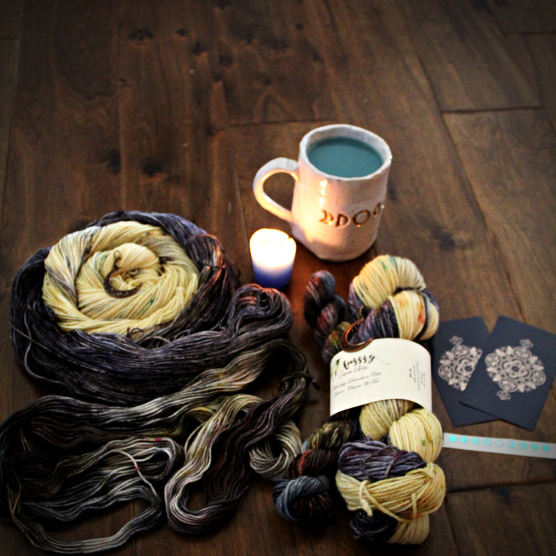 Ready to Ship - BFL Mohair Fingering Sock Set - Monthly Divination Club: Yarn, Charm & Tea - October