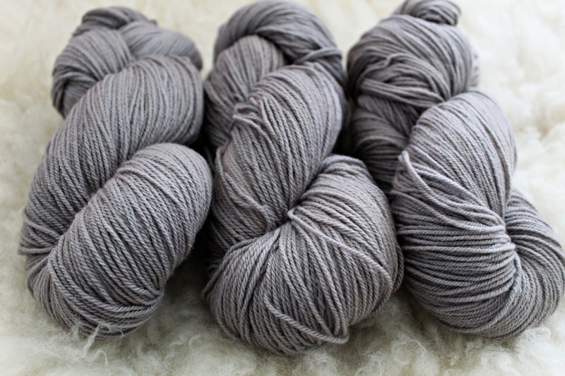 Silver - High Twist Merino Sock - Fingering Weight - Non Superwash