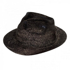 Black Glitter Gangster Hat