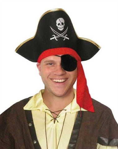 Pirate Hat with Gold Edge & Red Tie Trim