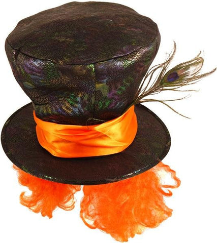 Mad Hatter Hat with Orange Hair