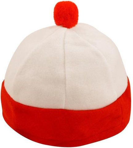 Red & White Hat with Bobble