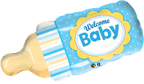 Foil Balloon - Welcome Baby Bottle (Blue)
