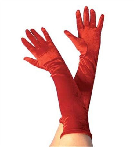 Long Red Velvet Gloves