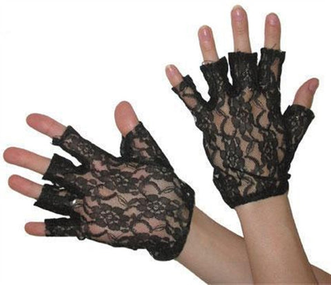Short Black Fingerless Lace Gloves