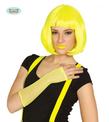 Neon Gloves Yellow Mesh