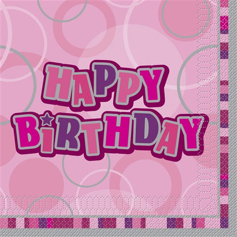 Glitz Pink 'Happy Birthday' Napkins