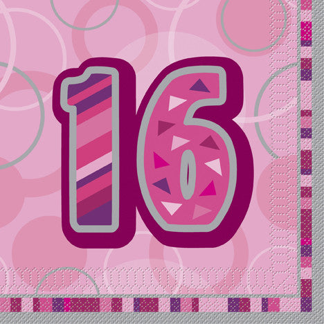 Glitz Pink 'Happy Birthday' Napkins - 16