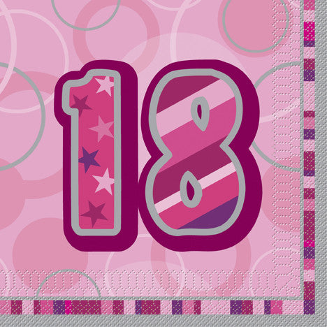 Glitz Pink 'Happy Birthday' Napkins - 18