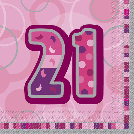 Glitz Pink 'Happy Birthday' Napkins - 21