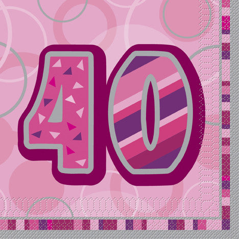 Glitz Pink 'Happy Birthday' Napkins - 40