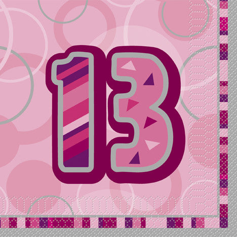 Glitz Pink 'Happy Birthday' Napkins - 13