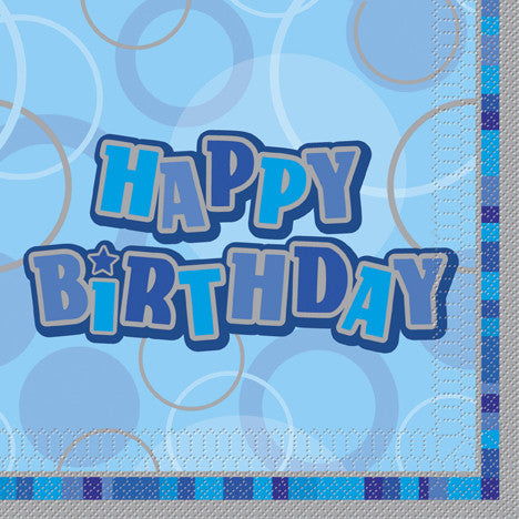 Glitz Blue 'Happy Birthday' Napkins