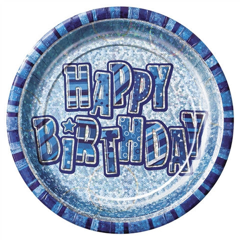 Glitz Blue 'Happy Birthday' Plates