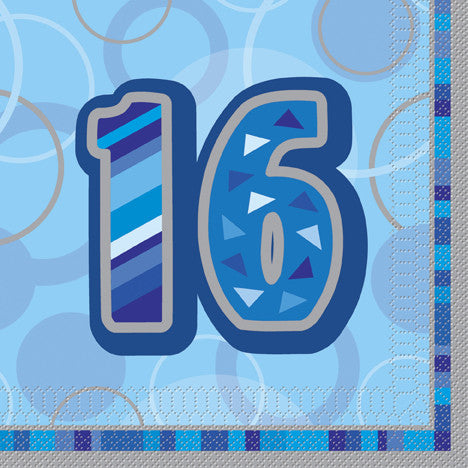 Glitz Blue 'Happy Birthday' Napkins - 16