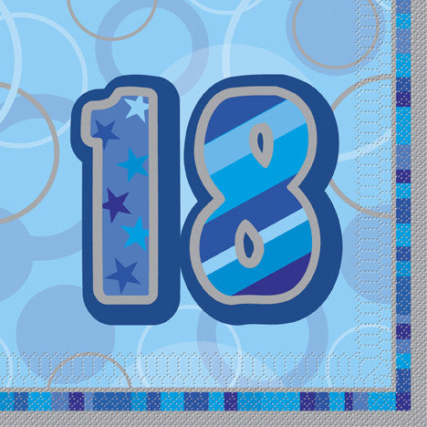 Glitz Blue 'Happy Birthday' Napkins - 18