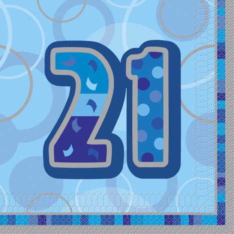 Glitz Blue 'Happy Birthday' Napkins - 21