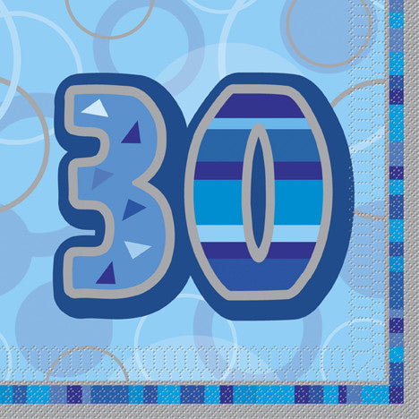 Glitz Blue 'Happy Birthday' Napkins - 30
