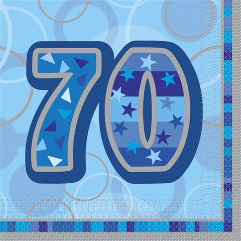 Glitz Blue 'Happy Birthday' Napkins - 70