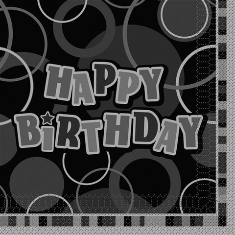 Glitz Black 'Happy Birthday' Napkins